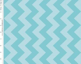 Aqua Chevron Fabric, Riley Blake C380-24 Medium Chevron, Nautical, Tone on Tone Aqua Chevron Quilt Fabric, Cotton
