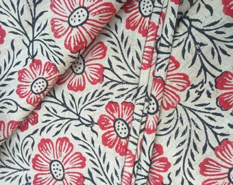 Beige Handloom Khadi Cotton Fabric 20%SALE,Block Print Cotton Floral Print,Dress Fabric,Indian fabric By Yard,khadi Cotton