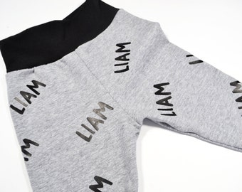 Legging - pants - kids - baby personalized with name - grey with black waist