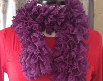 Crochet lace fashion ruffle scarf purple scarf gift for her ready to ship