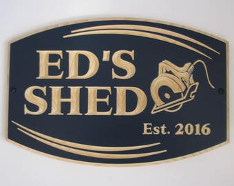 Personalized Carved Wood Shed Sign Man Cave Sign Garage Sign with Carved Saw