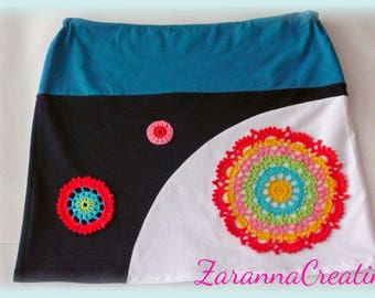 A line handmade women's skirt with colorful applique mandalas, mini skirt size L, OOK skirt