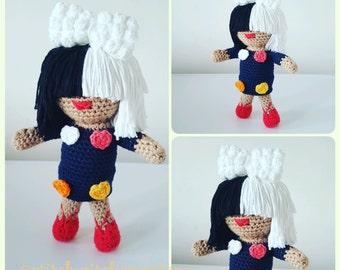 Sia Inspired Crochet Doll Pattern - Amigurumi PDF instant download