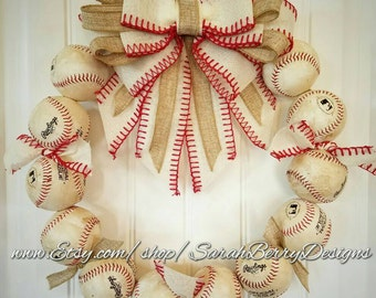 Baseball Wreath with Ivory burlap bow - Made with REAL baseballs!!! Softball and Baseball decor - Coach's Gifts - MLB - Front Door Wreath