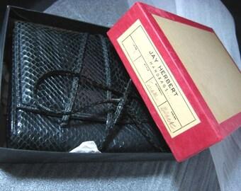 Vintage Jay Herbert Snakeskin Clutch Purse in Original Box Black Snake