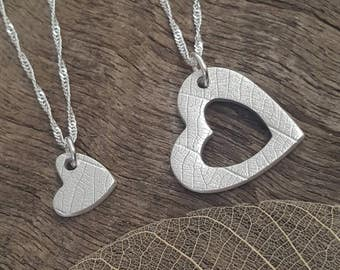 Heart Duo necklaces with leaf vein texture