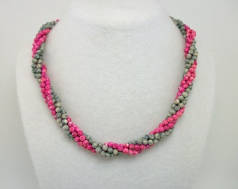 Vintage 70s 80s Twist-a-Bead Necklace in Pink and Gray