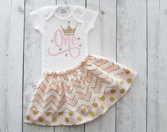 Light Pink and Gold Princess First Birthday Outfit - twirl skirt, pink gold birthday, baby girl pink gold, crown, princess