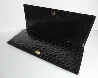 Black Vintage Patent Leather Bag // Kroko Touch // Clutch // Hand Bag