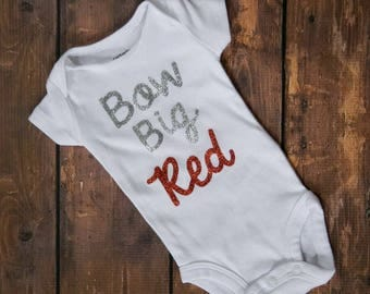 Bow Big Red! Sparkly silver and red bodysuit! Nebraska baby girl outfit