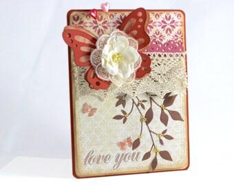 "Handmade card, Love you card,  Greeting card, 5"" x 7"", Love you,  Any Occasion Card, Greeting card, Butterfly"