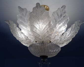 Clear glass Murano leaves chandelier