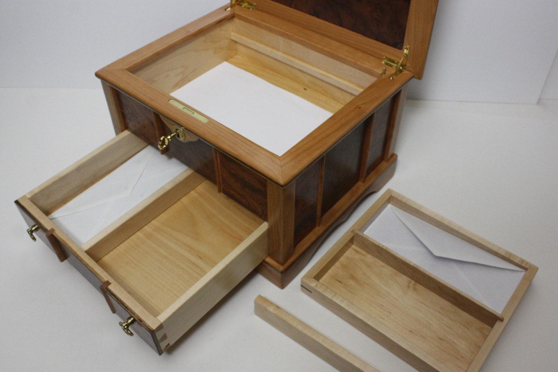 Large Locking Secretary Box, Stationary Box with Drawer