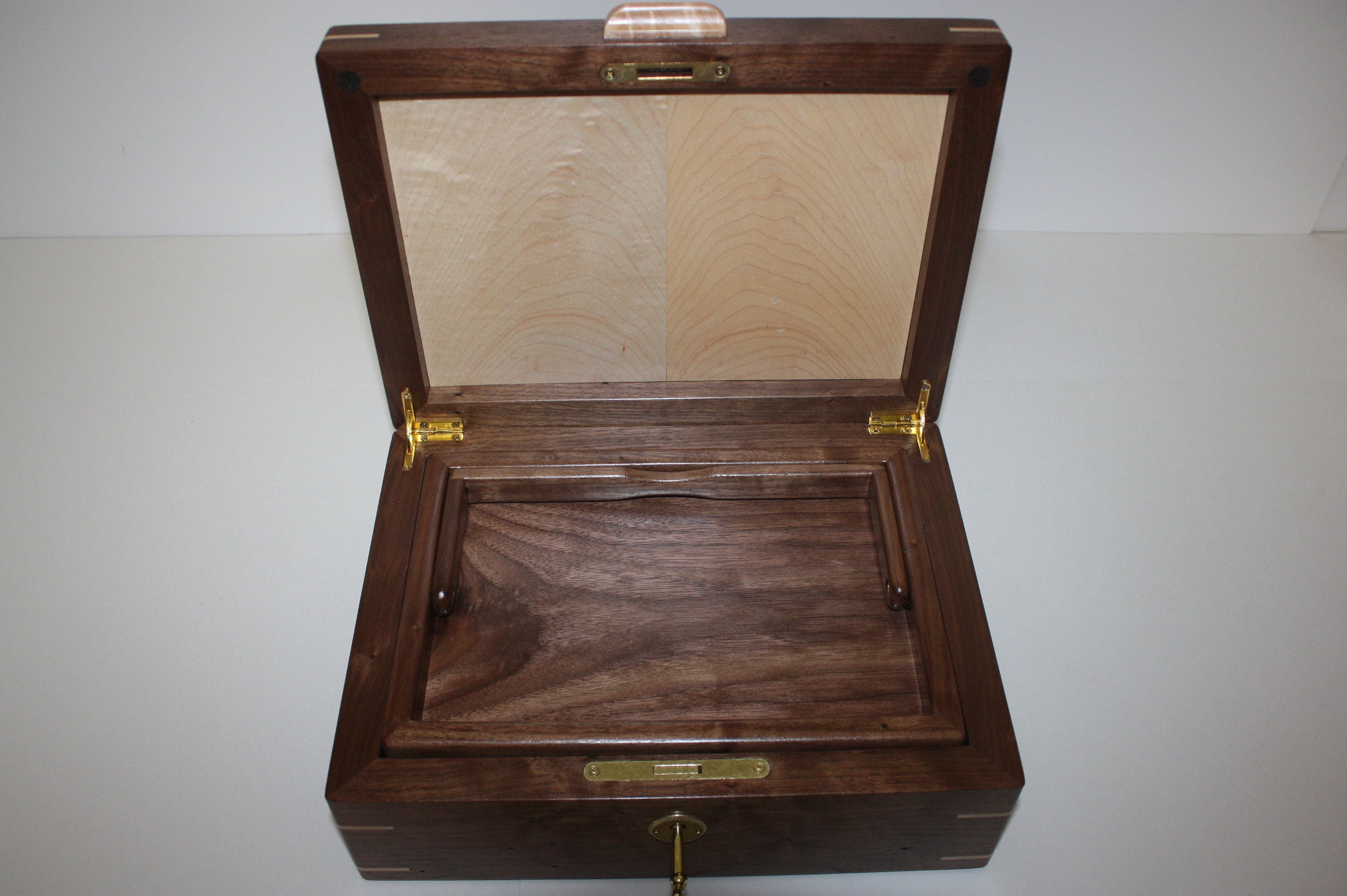 Walnut and Maple Wood Box with Lift Out Tray