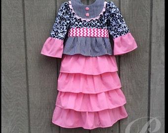 GIRLS PINK DRESS pink ruffle dress long modest dress