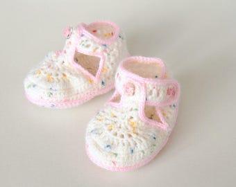 White Handmade Crochet Baby Girl Booties