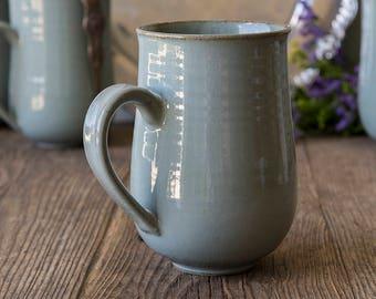 Ceramic Big Mugs Set / 14 oz Hand Thrown Mugs / Set of 4 or 6 Mugs / Stoneware Mugs / Ceramic Mug Handmade / Set Gift