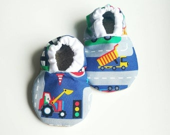 Construction baby shoes,Tractor babyboy shoes,farm baby soft sole shoes,babyshoes,infant shoes,blue baby slippers,baby truck shoes