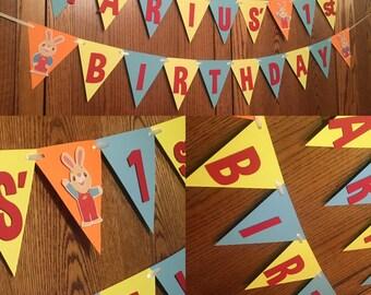 Harry the Bunny birthday, harry the bunny banner, babys first tv birthday, harry the bunny party decor, babys first tv party decorations