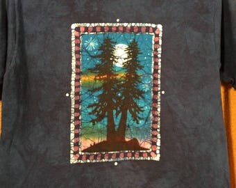XL.  blue tree silhouette batik t shirt