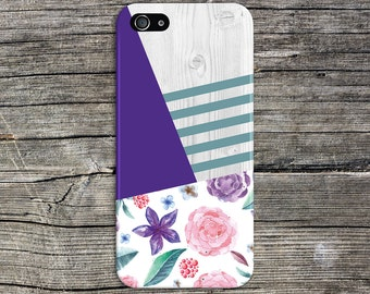 Purple x Sea Green Spring Flowers Wood Print Case, iPhone 7, iPhone 7 Plus, Tough iPhone Case, Galaxy s8, Samsung Galaxy Note 5 CASE ESCAPE