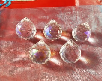 Set of 10 - Faceted Round Crystals, AB Color, 25x21mm, Hole: 2mm