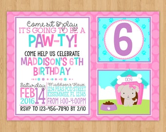 Puppy Paw-ty Birthday Invitation