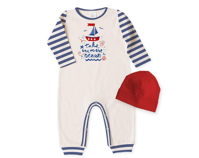 Baby Boy Fourth of July Outfit, Newborn Boy Coming Home Outfit, Baby Boy Bodysuit and Hat Gift, Baby Nautical Romper Tesababe RC81IYBIS63RD