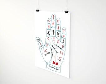 Twin Peaks Palmistry Art Print // twin peaks art, david lynch, wall art, fire walk with me