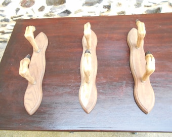 Set of 3 Vintage French Deer Hooves  Gun Rack - Coat Rack