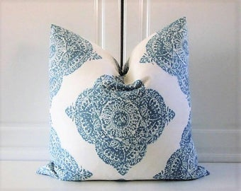 "John Robshaw for Duralee ""Mani"" Decorative Pillow Cover--Aqua Medallion- Square or Lumbar"