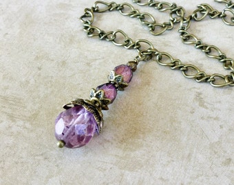 Purple Necklace, Amethyst Necklace, Pendant Necklace, Beaded Necklace, Antique Gold Necklace,Czech Glass Necklace, Victorian Necklace, Gifts