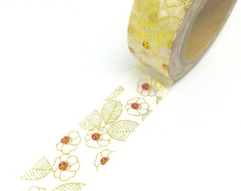 Gold Flowers and Leaves Foil Washi Tape 15mm x 10m