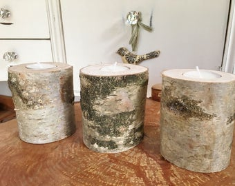 Rustic birch wood tea light candle holders x3