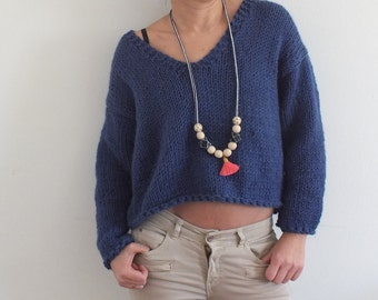 Cropped sweater Knit  sweater V neck swater Blue Sweater