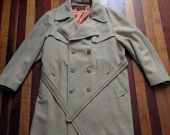 Vintage 70s 80s Sir Pendleton Double Breasted Wool Trench Coat Big and Tall 44 Long