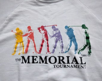 Vintage 1988 The Memorial Golf Tournament Sweatshirt Rainbow Muirfield Village Jack Nicklaus