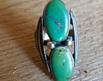 Vintage Sterling Silver and Turquoise Fred Harvey Era Ring Navajo Style Snakes Size 5