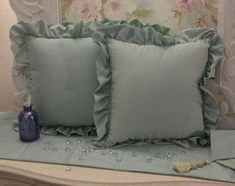 tiffany blue taffeta pillows 2 set