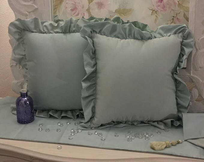 tiffany blue taffeta pillows 2 set