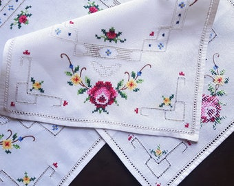 Vintage white handmade small table runner with cross stitch set of two