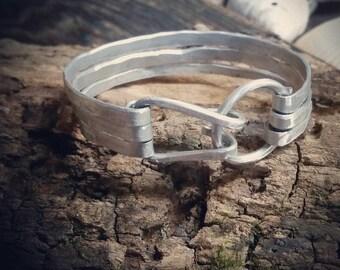 3 Wire Bangle Bracelet Silver Aluminum waterproof