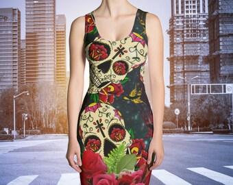 Sugar  Skull Dress , Day Of The Dead  XS-XL Midnight Rose