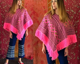 Mexican Poncho Boho Pink Embroidered Poncho 70s Ethnic Woven Fringe Poncho