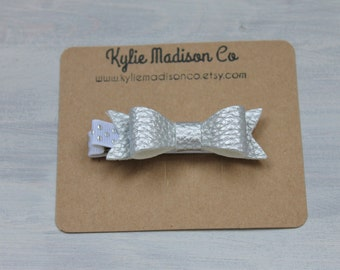 metallic silver faux leather petite bow clip, baby hair clip