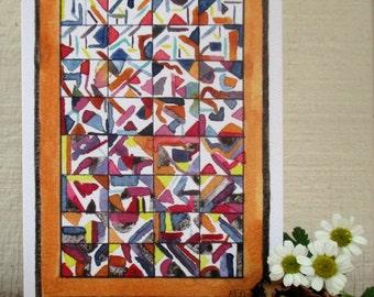 Crazy Quilt Greeeting Card, Original Quilt, Small Art, Modern Quilt, Modern Art, Miniature Paintings, Watercolor Print, Crazy Quilt Print