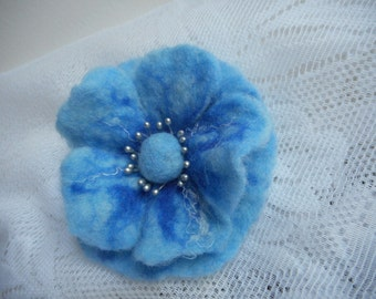 Blue Felt Flower Poppy Brooch, Felt Brooch Flowers,Wool Felt Jewelry,Woolwork,Blue Flower,Accessories,FeltFlower,Hair flower pin,Blue Brooch