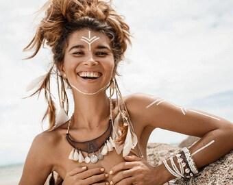 MAIYA - Torque bib necklace tribal leather & metal ethnic Bohemian boho chic
