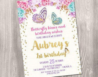 Butterfly birthday invitation, butterfly invitation, watercolor floral boho, girl birthday invitation, garden party, Printable Invitation