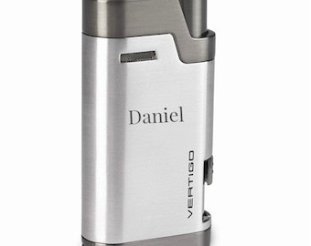 Cigar Lighter Twin Flame Groomsmen Brushed Chrome Lighter Cigar Torch Fathers Day Cigar Gift Father Of The Bride